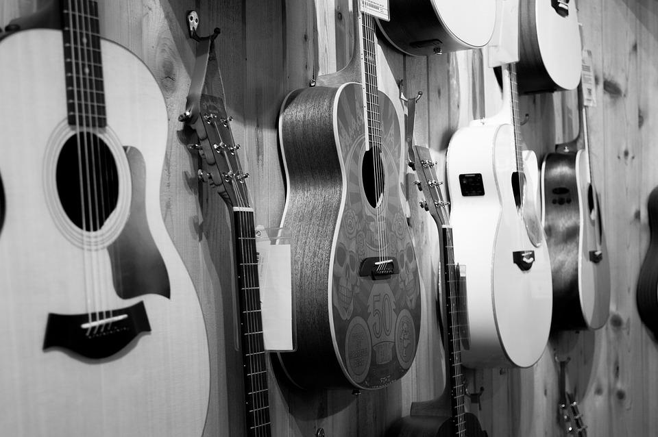 Wall Display Black And White Guitar