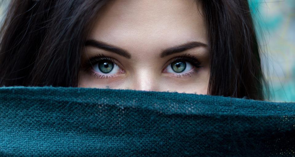 สาว, ดวงตา, ตาสีเขียว, สายตา, วิสัยทัศน์, คิ้ว, ขนตา