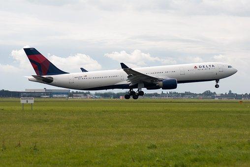 飛行機, 滑走路, 航空会社, スキポール, 国, デルタ