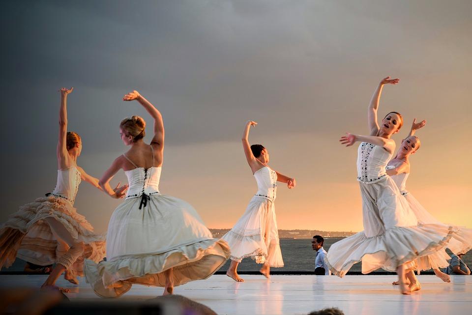 Personnes, Filles, Danse, Danseur, Blanc, Robe, Ciel