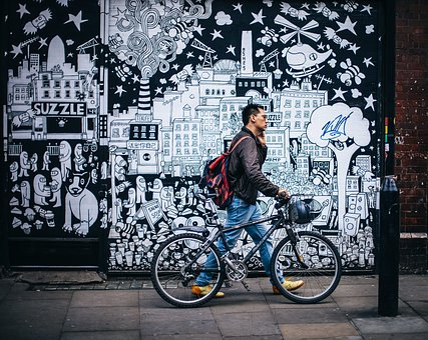 Art, Graffiti, People, Man, Bicycle