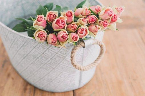 Pink Roses Flowers Bouquet Basket
