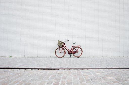 赤, 自転車, 壁, レンガ, 床