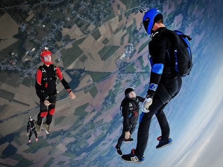 Sky, Dive, Sport, People, Men, Aerial