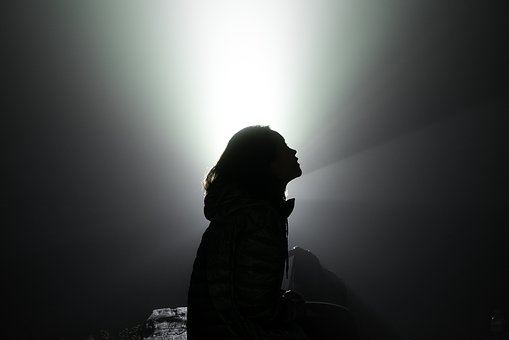 Silhouette, Woman, Alone