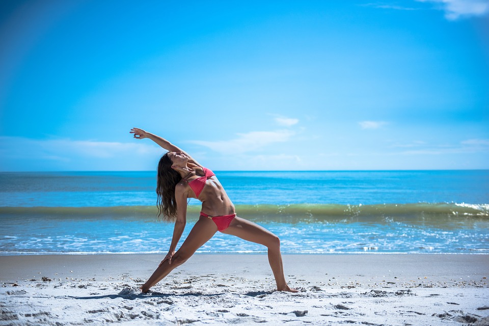 Yoga, Posa, Tratto, Salute, Fitness, Lavorando, Bikini
