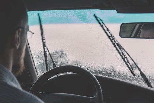 Car, Windshield, Driving, Raining