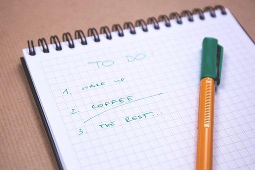 Tarefas, lista, lista de verificação, bloco de notas
