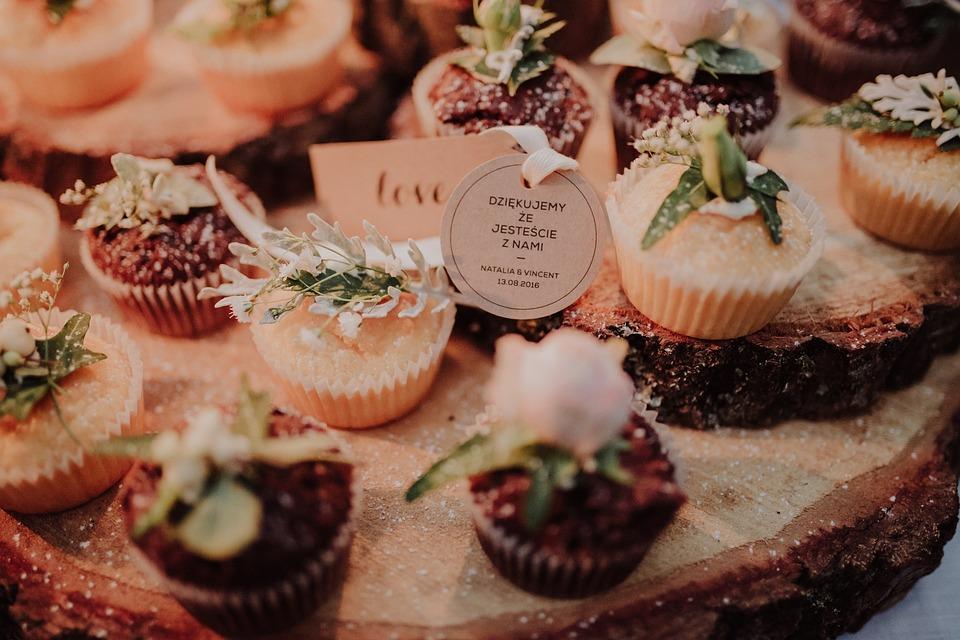 食品, 食べる, スタイル, 装飾, プレゼント, カップケーキ, 花, イベント, 愛, 結婚式