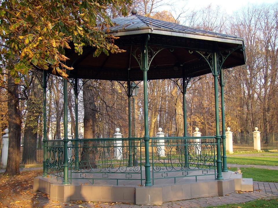 Terrasse-Jardin, Parc, Automne, Une Pergola Métallique