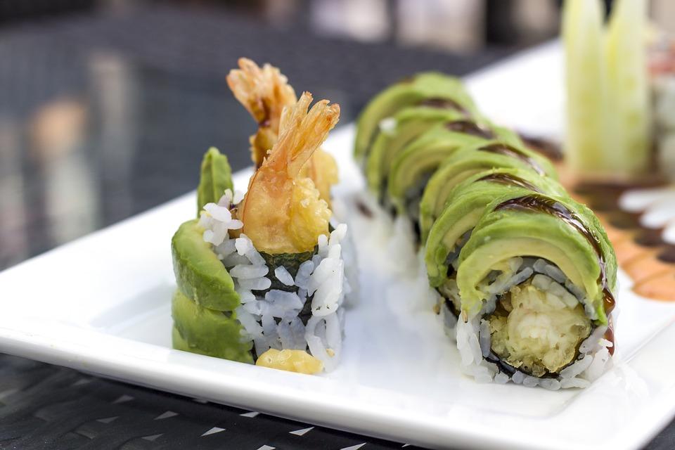 Sushi, Avokádo, Krevety, Japonský, Plody Moře, Válec