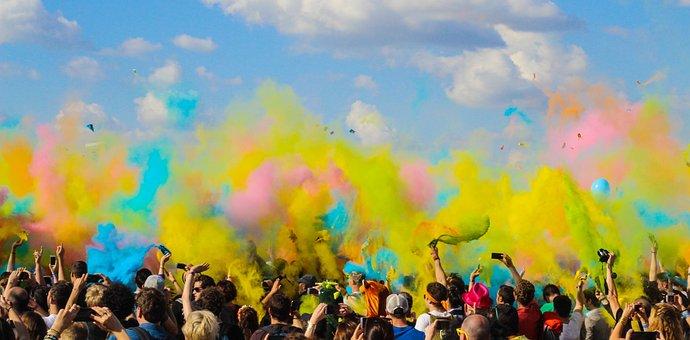 人, 群衆, 視聴者, 祝賀会, 色, 煙, 爆弾, コンサート, イベント