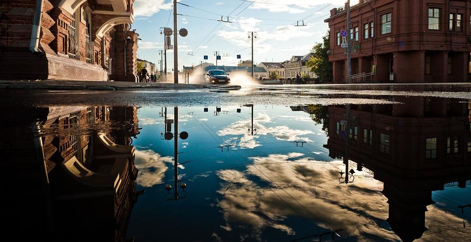 アーキテクチャ, 建物, 市, ダウンタウン, 電源, 電気, 行, 車, 洪水, 水, 水たまり