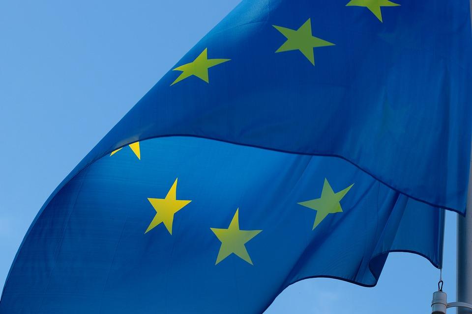 Banderą, Europa, Ue, Europejskiej, Cios, Niebieski