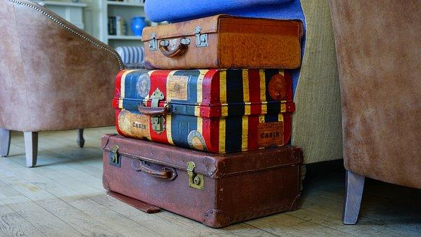 まだ, 項目, もの, スーツケース, 荷物, スタック, 杭, ビンテージ