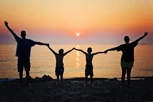 Family, Sunset, Beach, Happiness, Summer