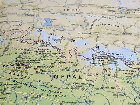Map, Himalaya, Tibet, Geography, Travel