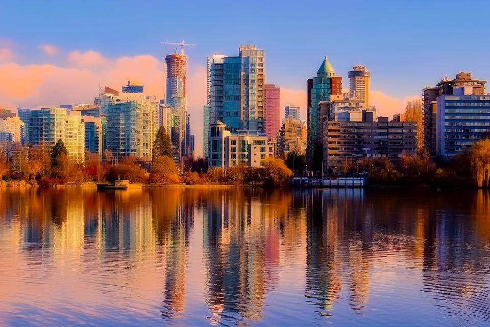 Vancouver, Kanada, Morze, Ocean, Odbicia, Skyline, City