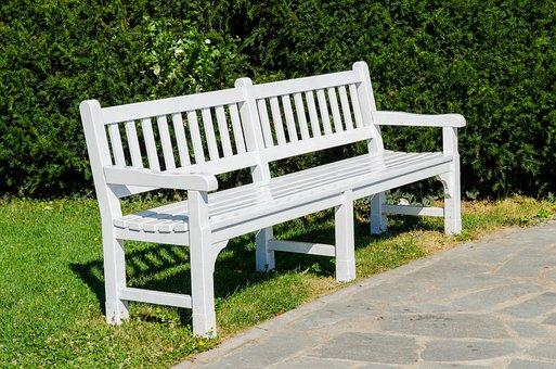 Bench, Park, Garden, White, Background