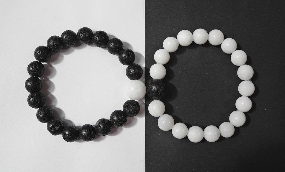 Bracelet, Jin Jang, Yin-Yang, Black, Blanc, Minérale