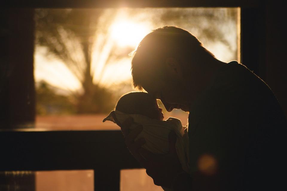 赤ちゃん, 子, 父, 親, 男, 人, 愛, シルエット, 日の出, 朝, 愛壁紙, 茶色の愛