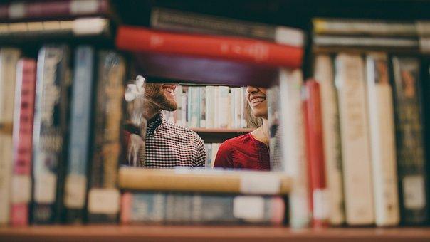 ライブラリ, 書籍, 読書, 学校, 研究, 男, 女の子, 女性, 人