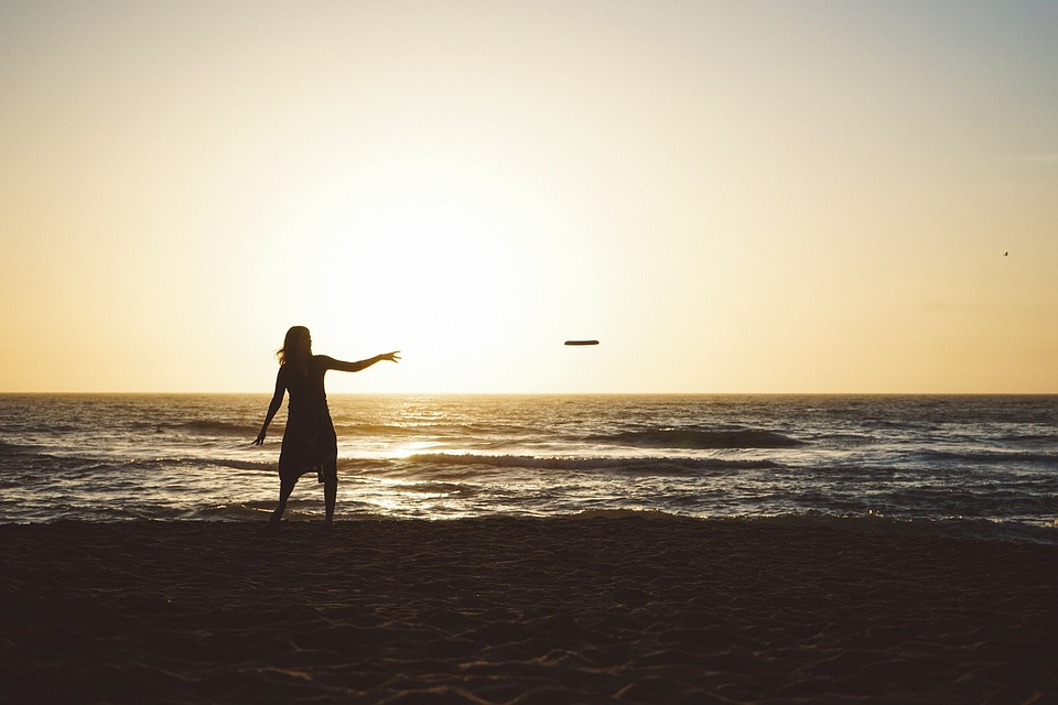 Sunset, Dusk, Sky, Girl, Woman, People, Frisbee