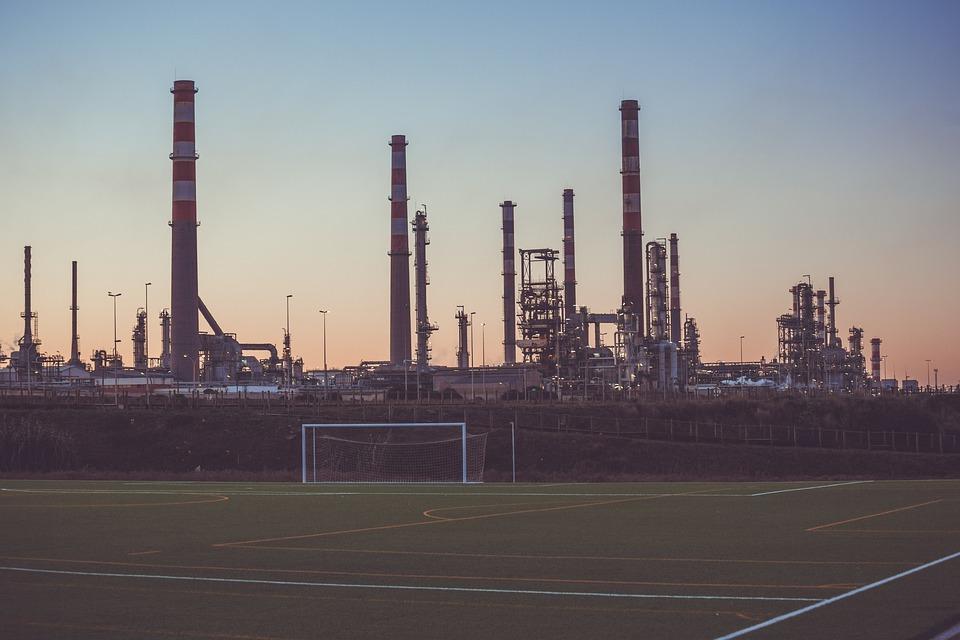 Soccer Field, Sports, Industrial, Factories, Sunset