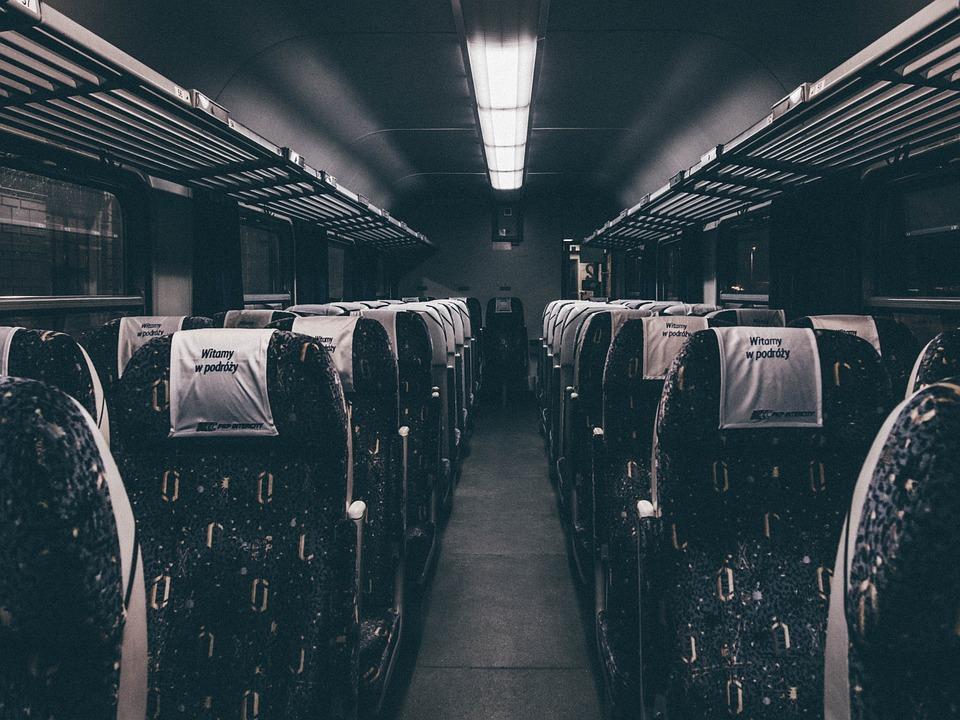 Ônibus, Trem, Transporte, Assentos, Coxia, Noite
