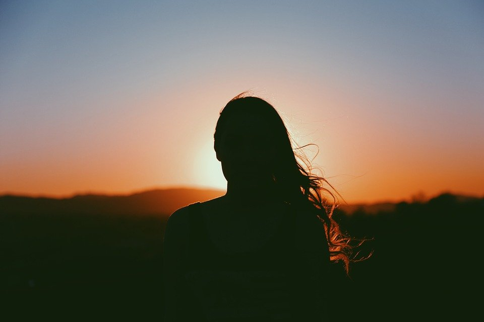 Girl, Woman, Looking, Silhouette, Sunset, Dusk, Evening