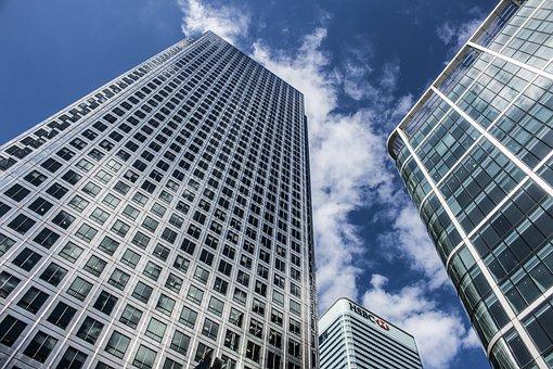 建物, アーキテクチャ, 窓, 青, 空, 雲, 市, 都市, 企業, ビジネス