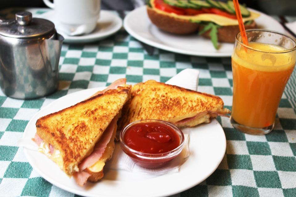 Sandwich, Prima Colazione, Cibo, Succo D'Arancia