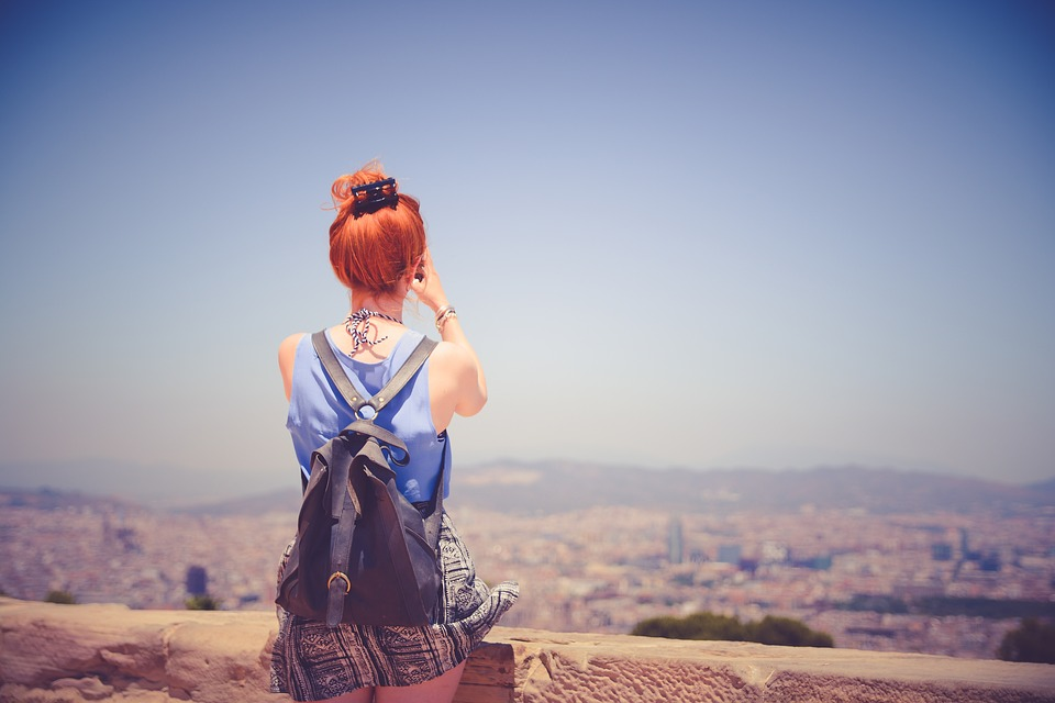 Girl, Woman, Red Head, Hair, People, Backpack, Fashion