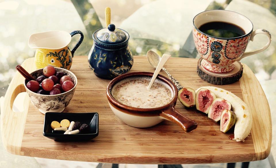 Prima Colazione, Uva, Banana, Frutti, Caffè, Coppa