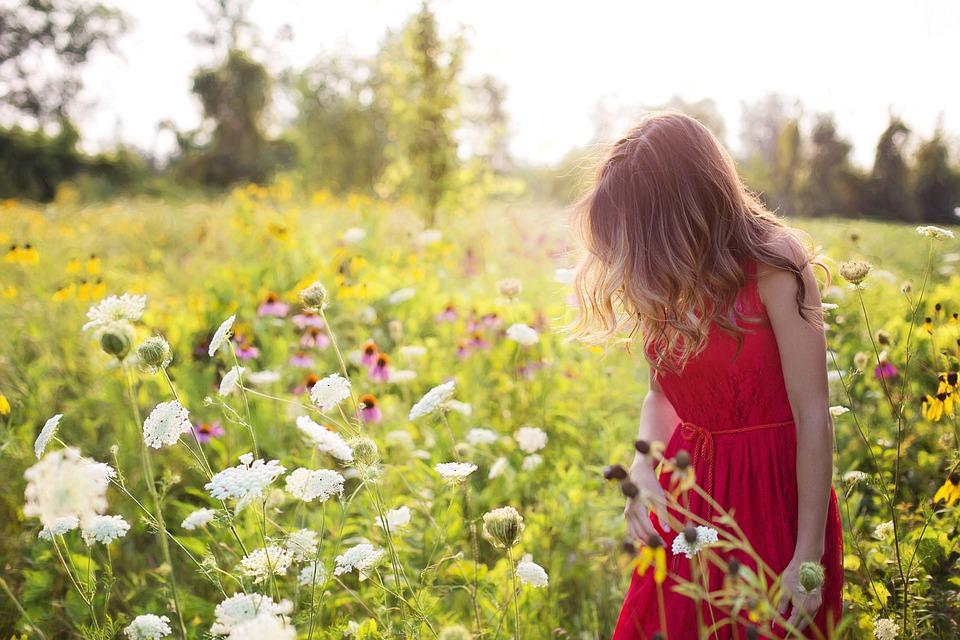 Young woman pretty red free photo on pixabay young woman pretty red summer flowers field mightylinksfo