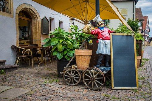 レストラン, 食べる, メニュー, 通りのカフェ, オプション, 料理