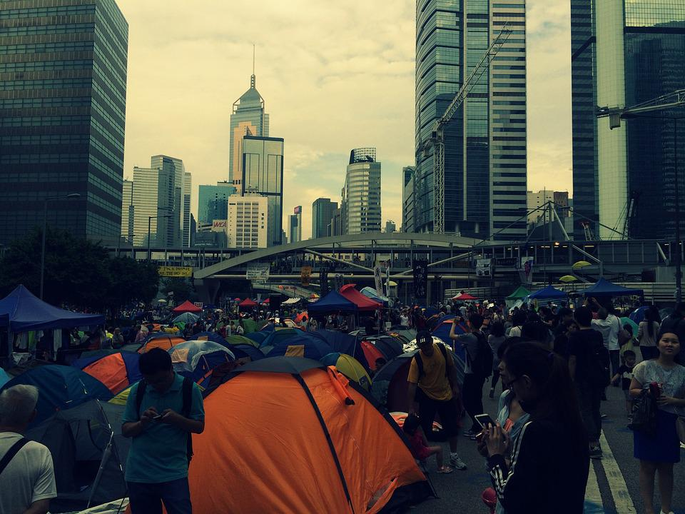 Hong Kong, Protest, Tents, People, Streets, Crowd, Busy
