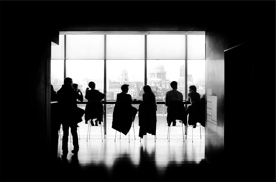 Mensen, Vergadering, Silhouet, Café, Praten, Zwart Wit