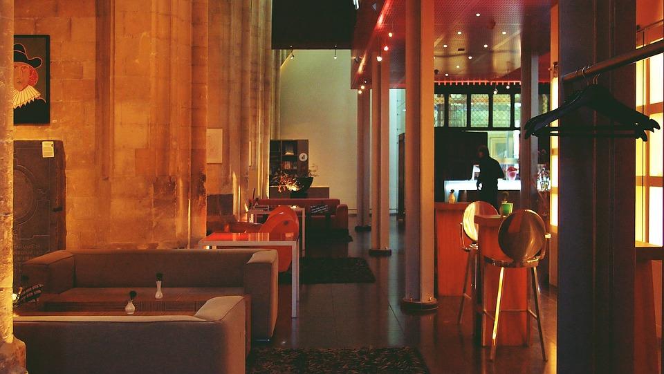 ホテル, ラウンジ, 椅子, ソファー, テーブル, インテリア, 装飾, デザイン, モダン