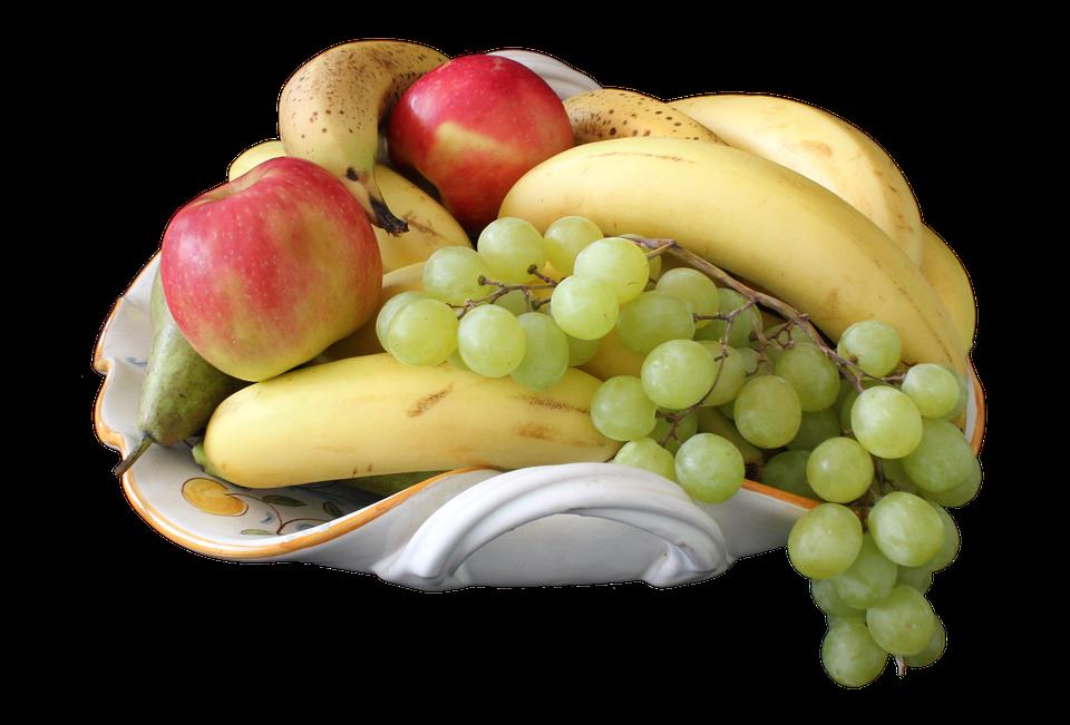 Frutas, Cuenco, Banano, Apple, De Uva, Pera