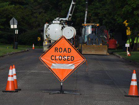 Road Closed, Sign, Construction