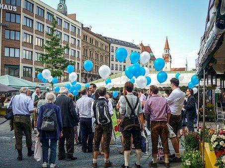 風船, 人, 群衆, 祝賀, 祭り, 祝賀会, ドイツ, ミュンヘン, 市