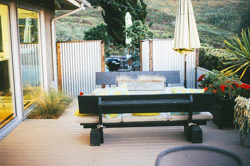 Patio, Backyard, Umbrella, Bench, Table