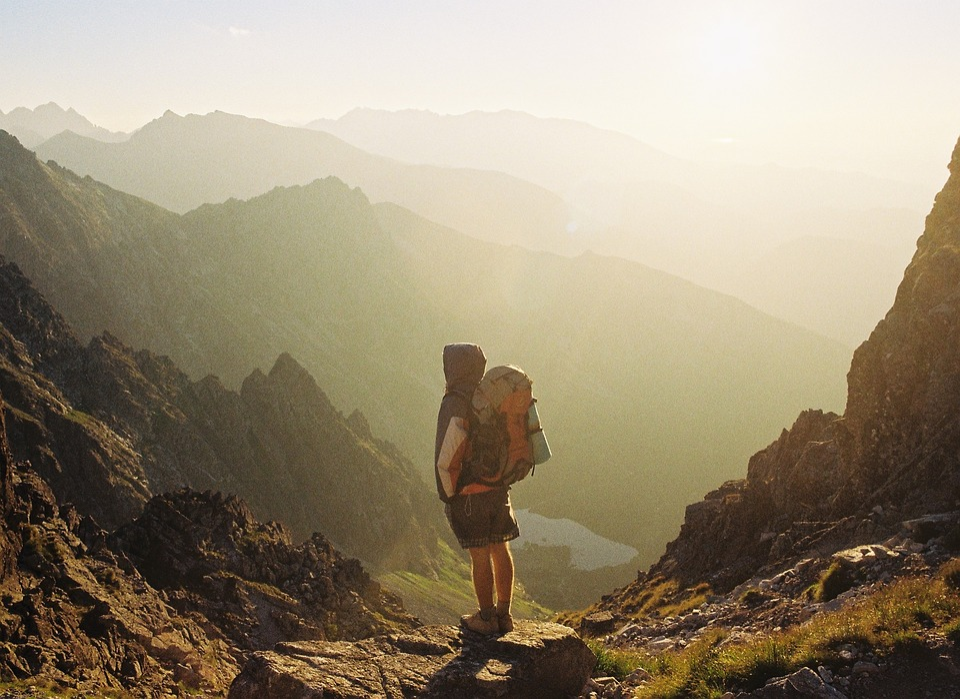 Небе, Слънце, Планини, Скала, Турист, Туризъм, Раницата