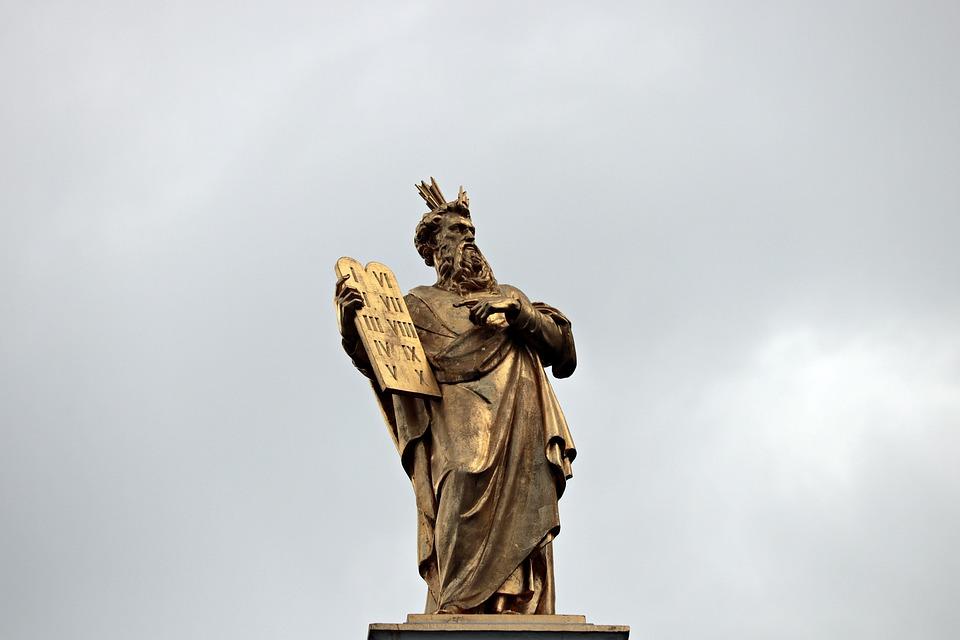 Moses, 10 Commandments, Statue, Golden Statue, Bruges