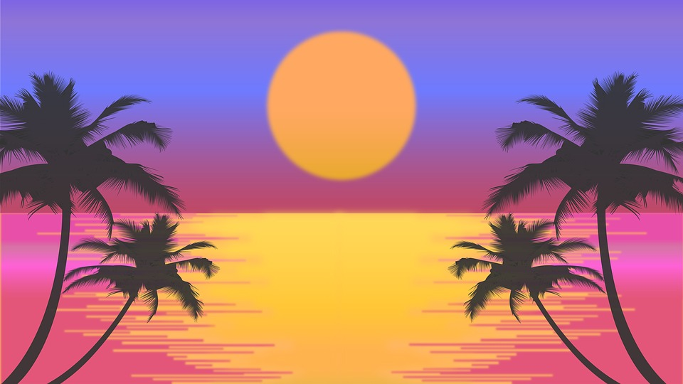 Sunset Beach Palm Trees Sun Retro