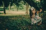 girl, forest, dress