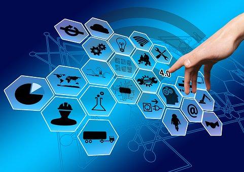 業界, 産業4, ウェブ, ネットワーク, ポイント, 手, 指, タッチ