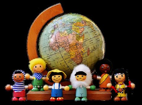 さまざまな国籍, 子供, 人間, グローブ, 世界中, 数字, 木