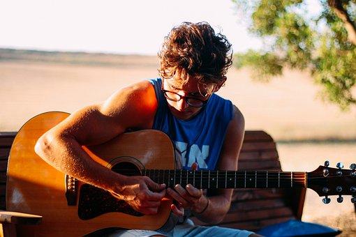 ギター, 学ぶ, レッスン, 路上生活者, 少年, 再生, 音楽, 楽器
